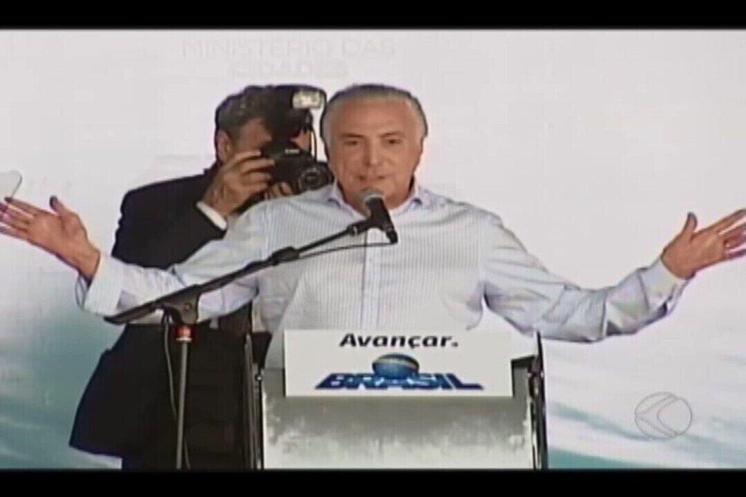 Presidente Michel Temer durante visita em Patos de Minas