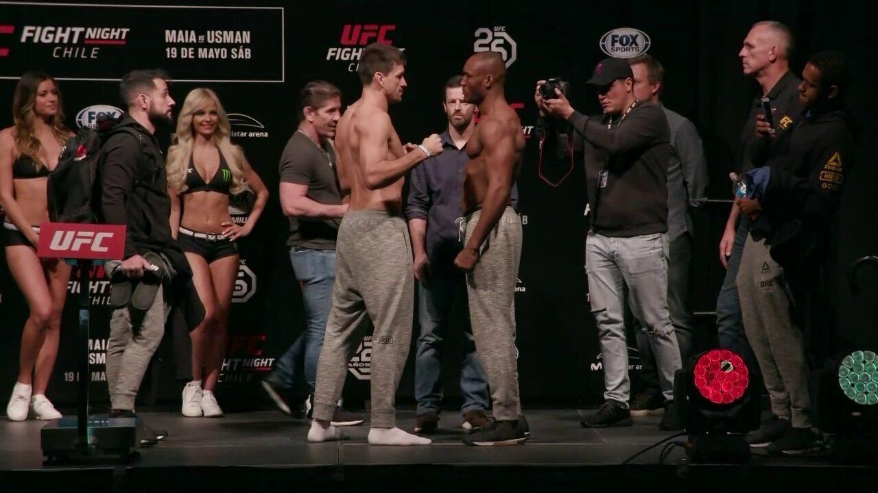 Demian Maia e Kamaru Usman passam pela pesagem do peso-meio-médio no UFC Chile