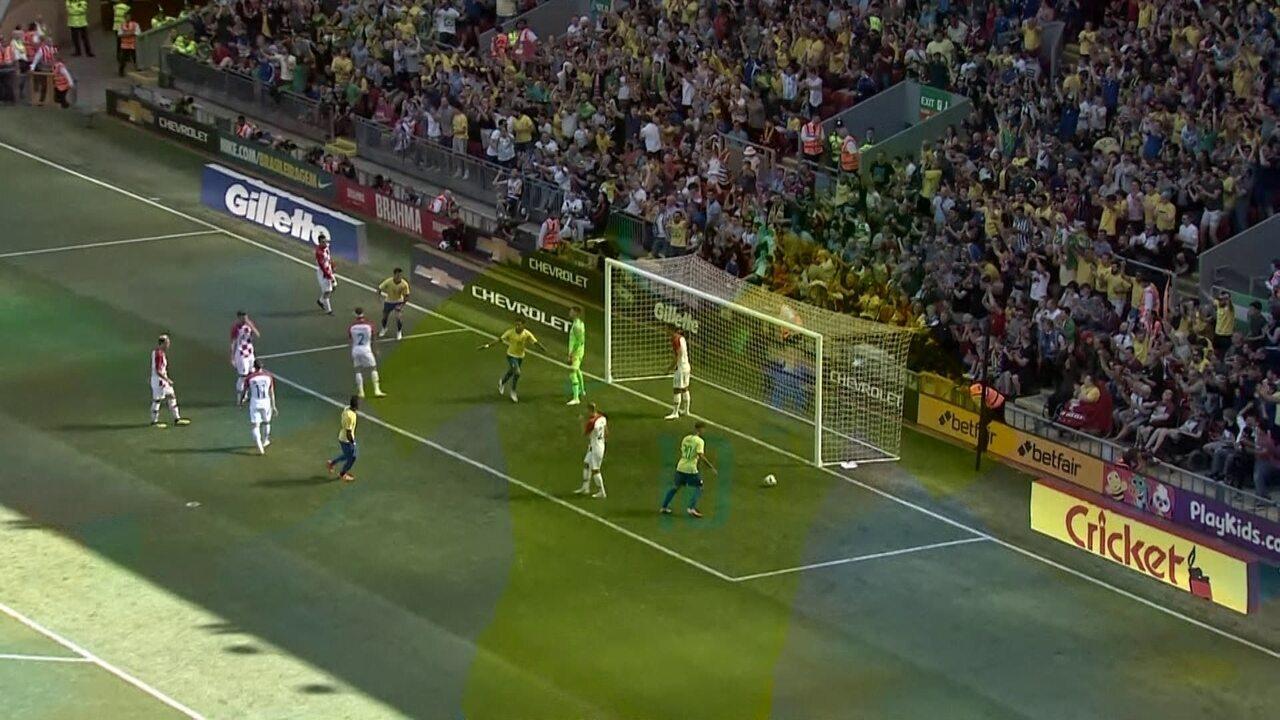 Os gols de Brasil 2 x 0 Croácia em amistoso internacional de futebol