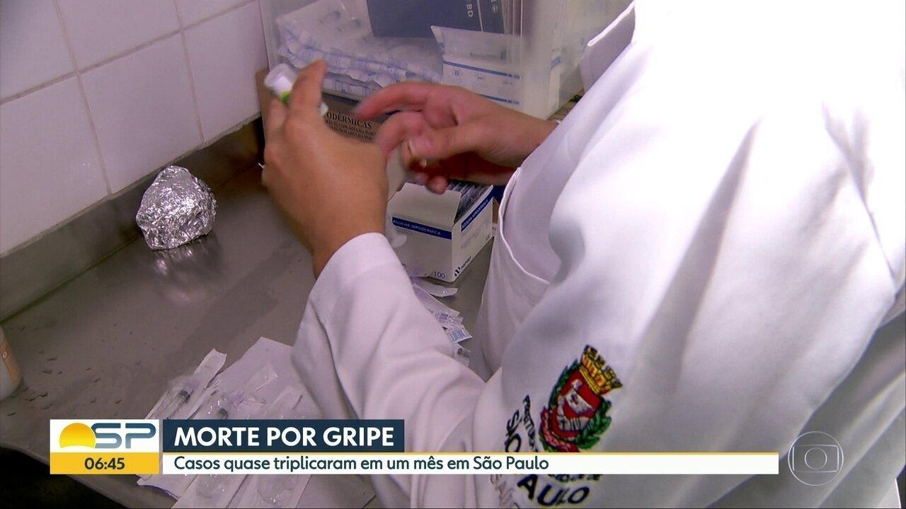 Mortes por gripe quase triplicam em um mês em SP
