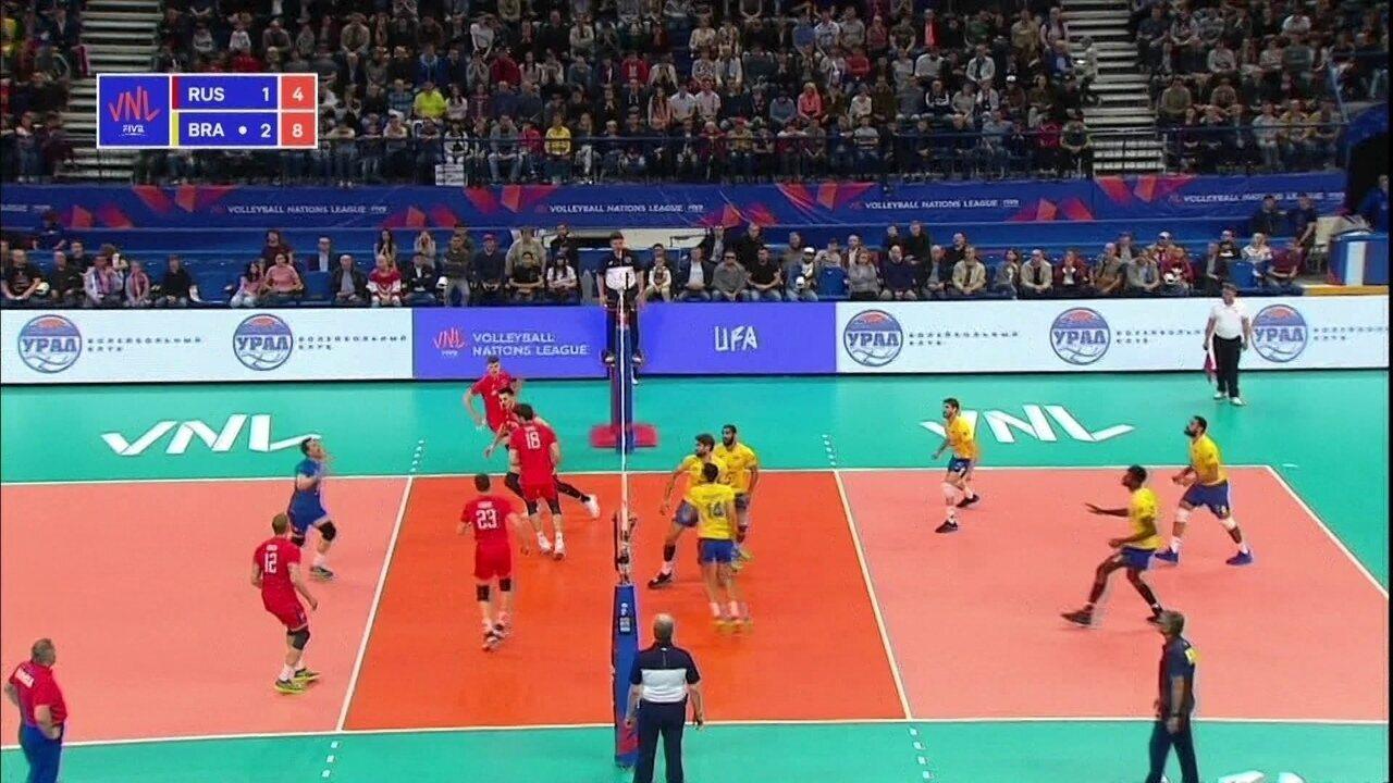 21bc7ac7dbe67 Melhores momentos  Rússia 1 x 3 Brasil pela Liga das Nações de vôlei  masculino