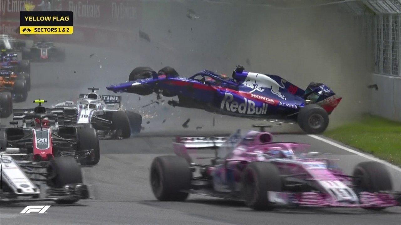 Começou quente! Stroll e Hartley batem forte batem logo depois da largada no GP do Canadá