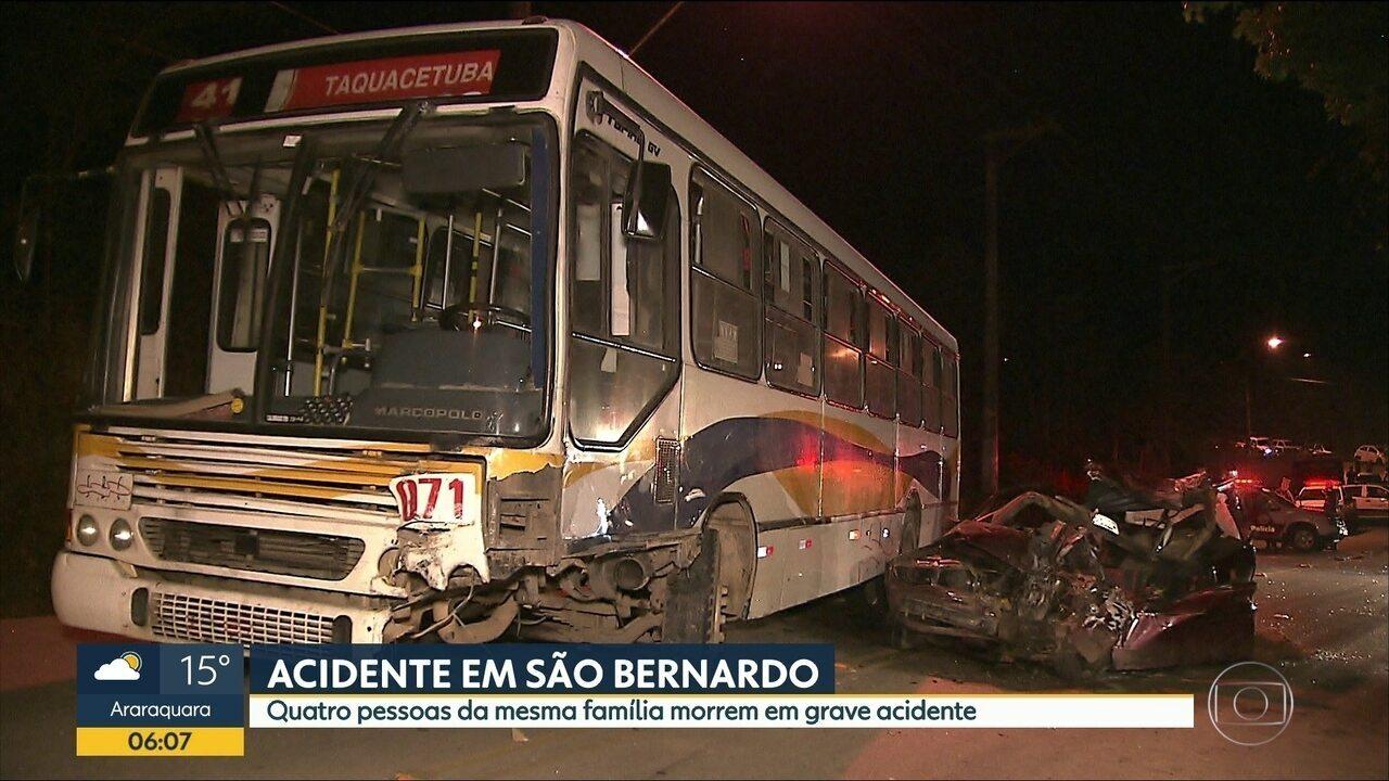 Acidente entre ônibus e carro mata quatro pessoas da mesma família