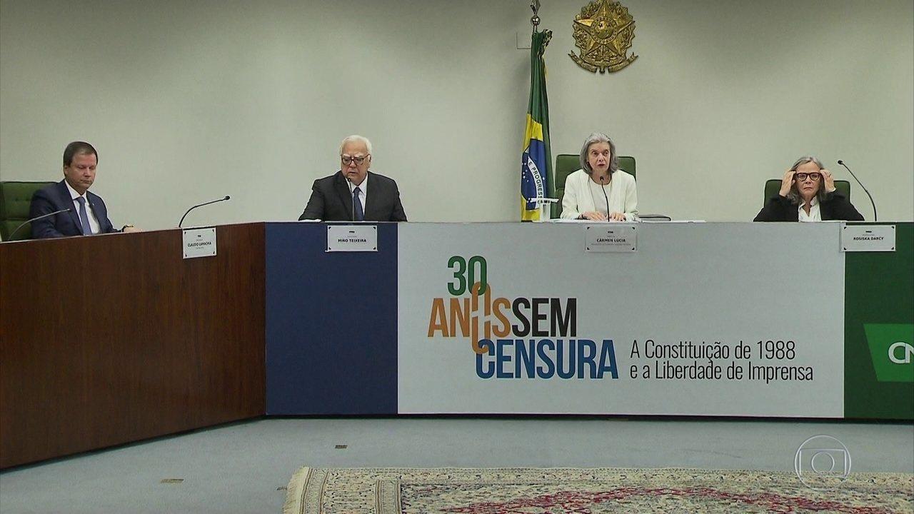 Cármen Lúcia , presidente do STF, diz que sem imprensa livre o país não funciona