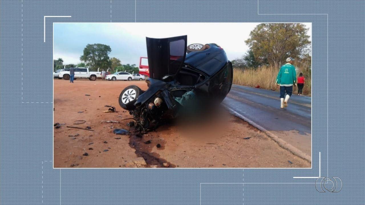 Dois motoristas morrem em acidente na GO-164, perto de São Luiz de Montes Belos