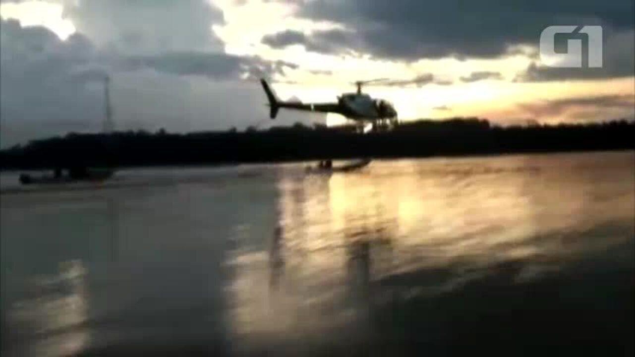 Helicóptero persegue pescadores no Rio Madeira, em Porto Velho