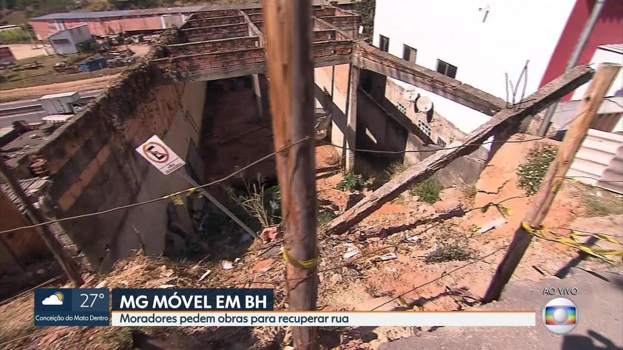 MG Móvel cobra melhorias em rua destruída no bairro Vista do Sol, na Região Nordeste de BH