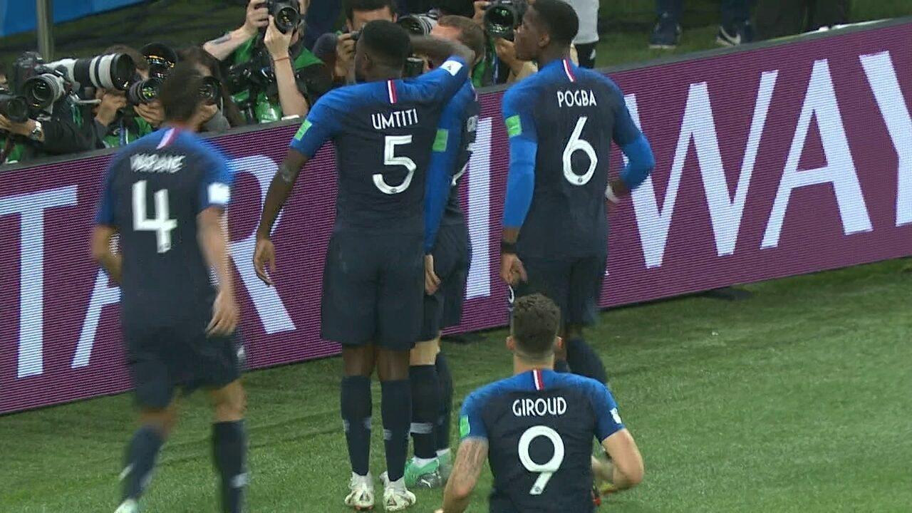 O gol de França 1 x 0 Bélgica pela semifinal da Copa do Mundo 2018