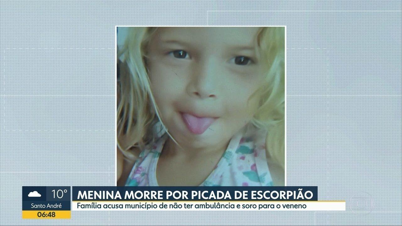Menina de 4 anos morre depois de ser picada por um escorpião