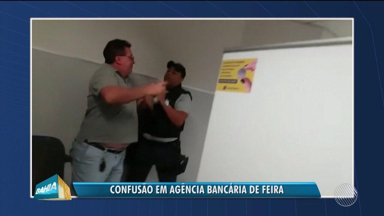 Segurança impede cliente do Banco do Brasil de ser atendido em Feira de Santana