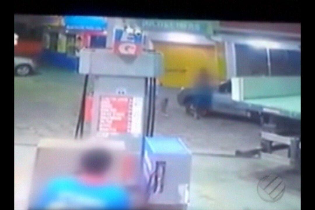 Câmeras de segurança de posto de combustível registram tentativa de homicídio em Bragança