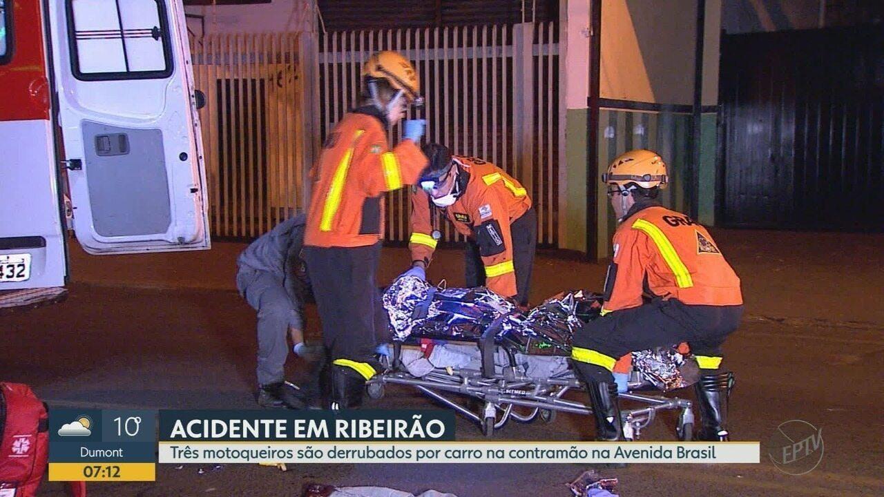 Três ficam feridos em colisão entre motos e carro na contramão em Ribeirão Preto