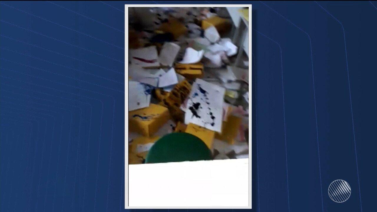 Vândalos invadem escola municipal e destroem documentos em São Gonçalo dos Campos