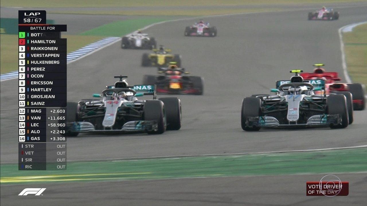 GP da Alemanha tem relargada com disputa entre Bottas e Hamilton