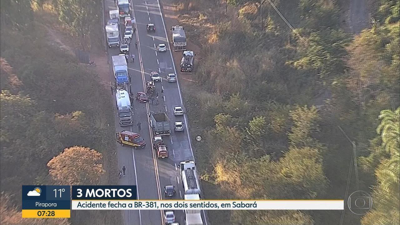 Três pessoas morrem em acidente na BR-381, em Sabará