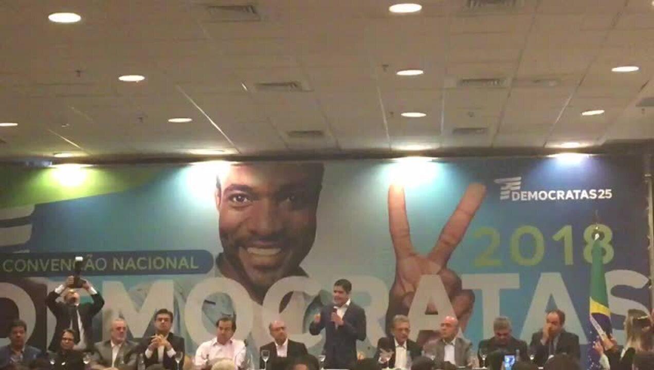 O presidente do DEM, ACM Neto, durante discurso na convenção do partido que oficializou apoio à candidatura de Geraldo Alckmin (PSDB) à Presidência da República