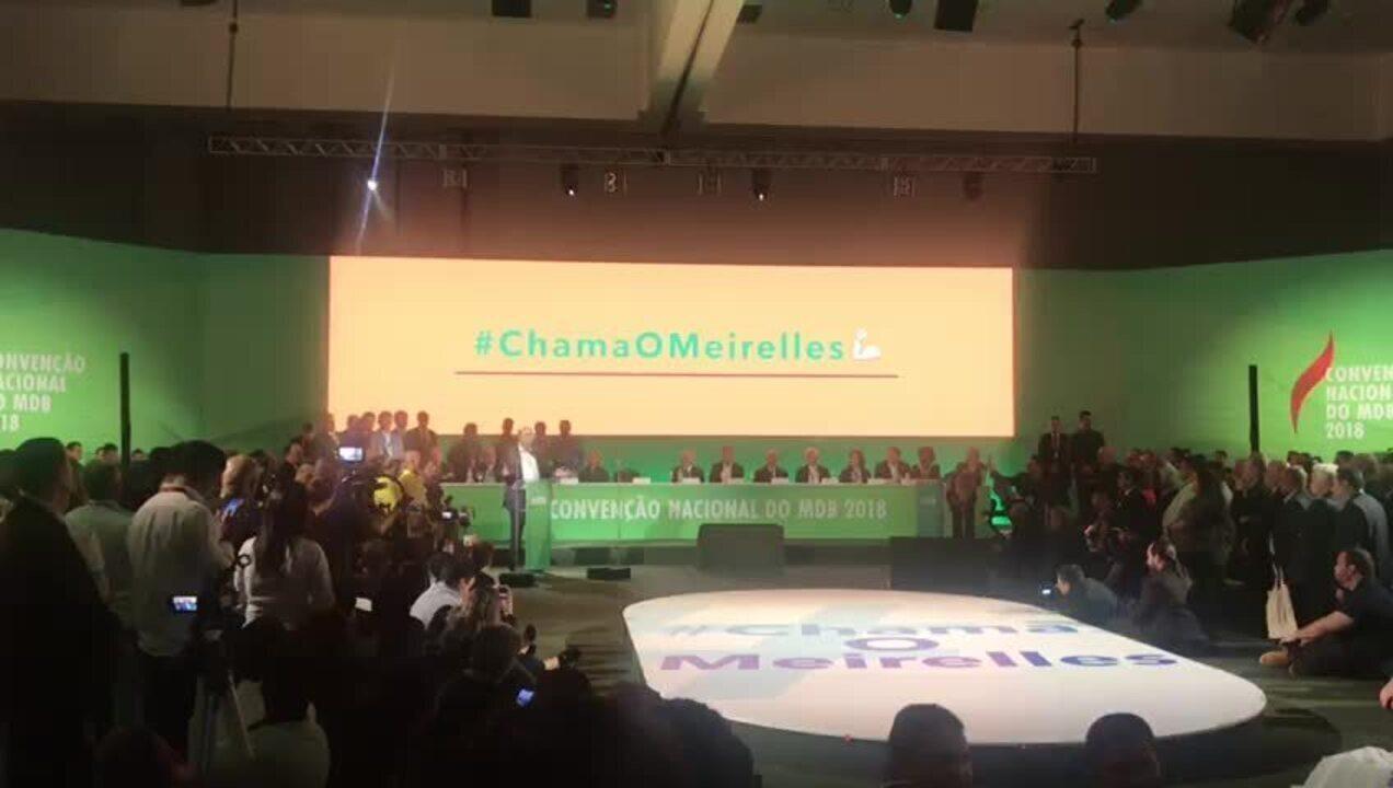 Henrique Meirelles durante discurso na convenção do MDB após ter sido confirmado do partido ao Planalto