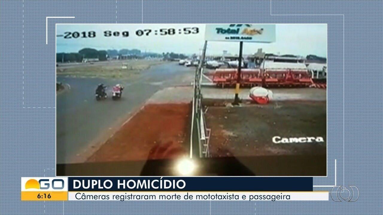 Vídeo mostra momento em que mototaxista e funcionária de motel são mortos em Rio Verde