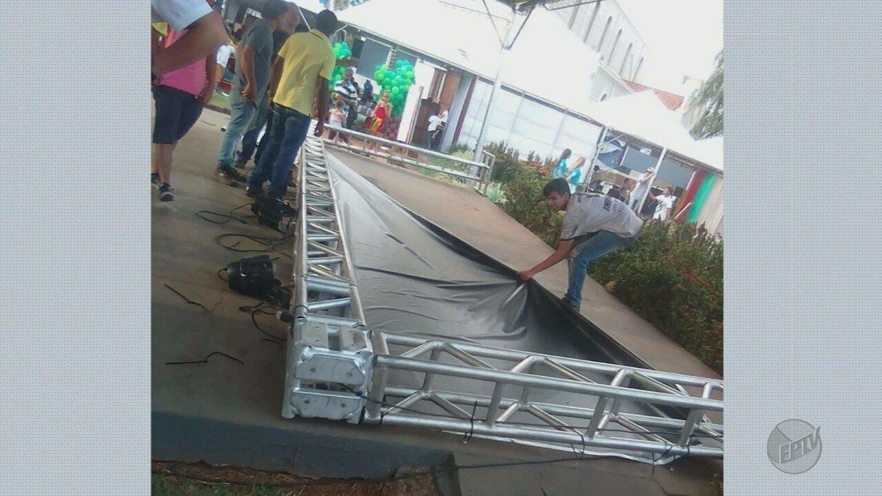 Palco desaba e deixa adolescente ferida na Feira do Livro de Colina, SP