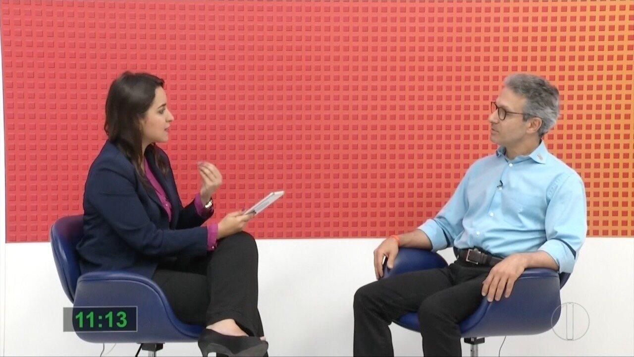 Candidato Romeu Zema (Novo) participa de entrevista na Inter TV