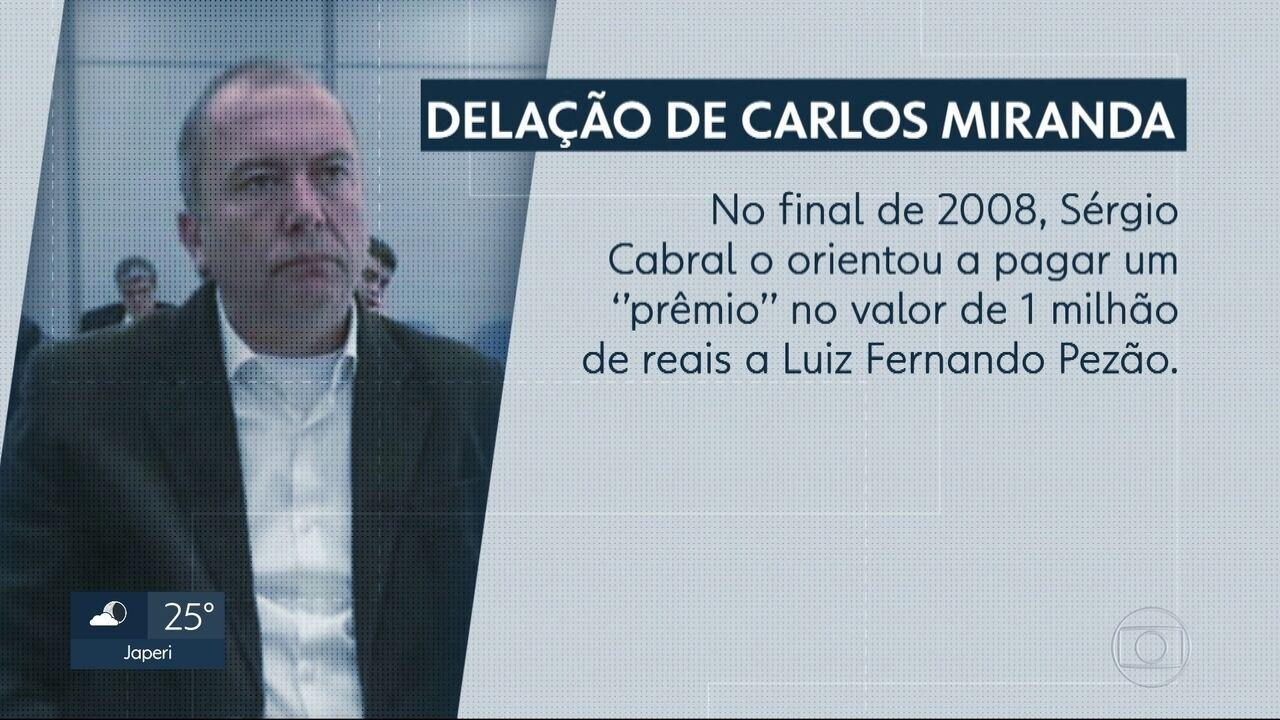 Carlos Miranda diz que empresário guardou 1 milhão de reais de propina para Pezão
