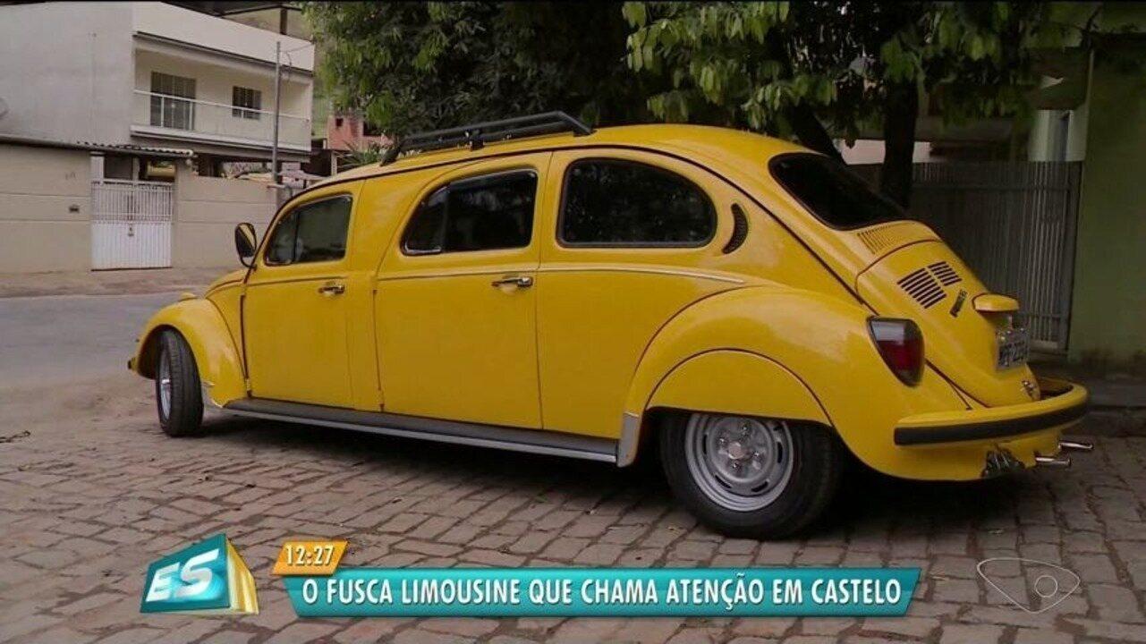 Fusca é 'transformado' em limusine e chama atenção pelas ruas de Castelo, ES