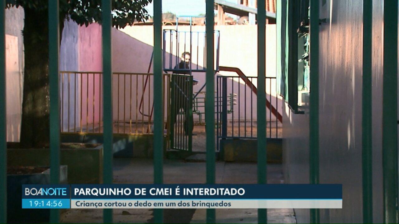 Parquinho de CMEI é interditado após acidente com criança