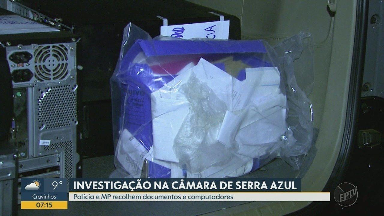 Documentos e computadores são apreendidos na Câmara Municipal de Serra Azul, SP