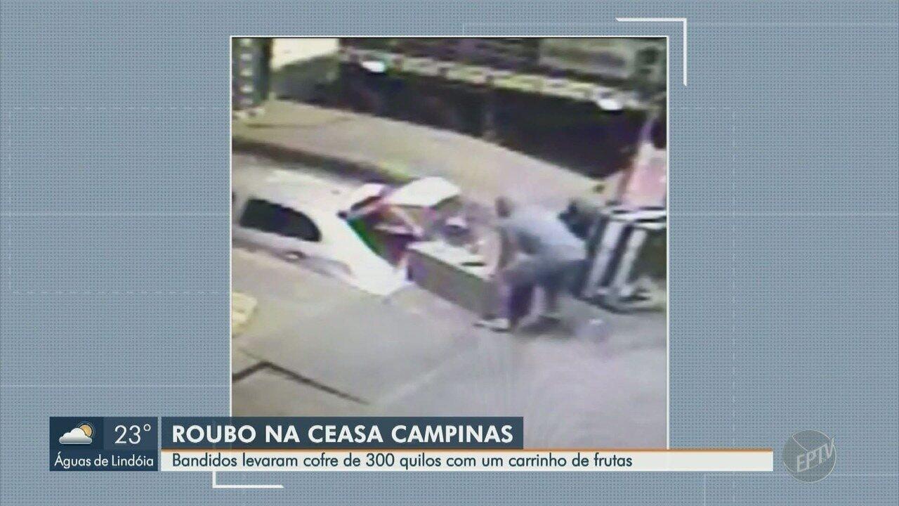 Criminosos roubam cofre de 300 quilos da Ceasa, em Campinas