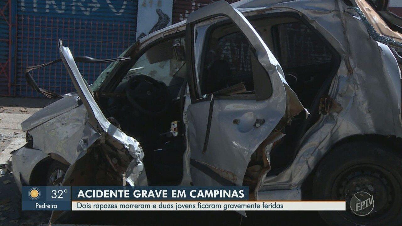 Carro bate em muro de oficina e deixa feridos, em Campinas