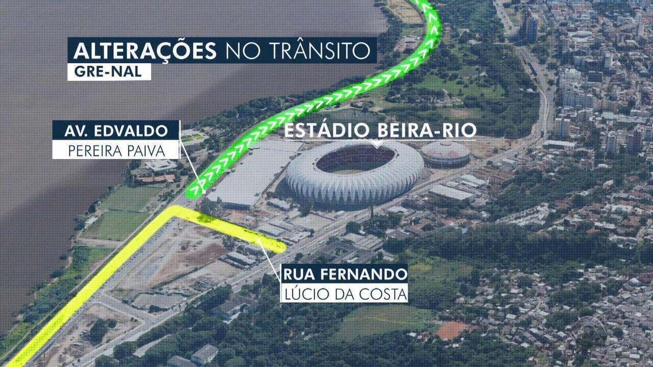 Clássico Gre-Nal deste domingo (9) causa alterações no trânsito de Porto Alegre