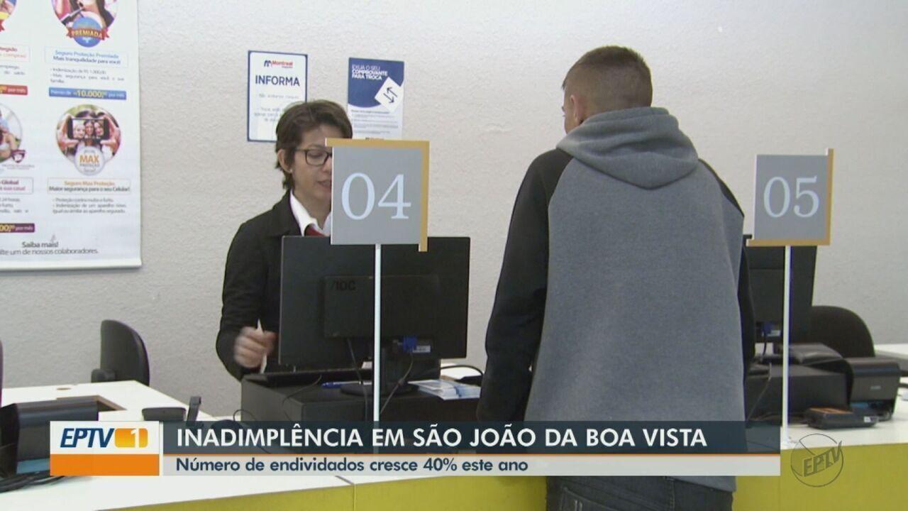 Número de endividados cresce 40% no ano em São João da Boa Vista