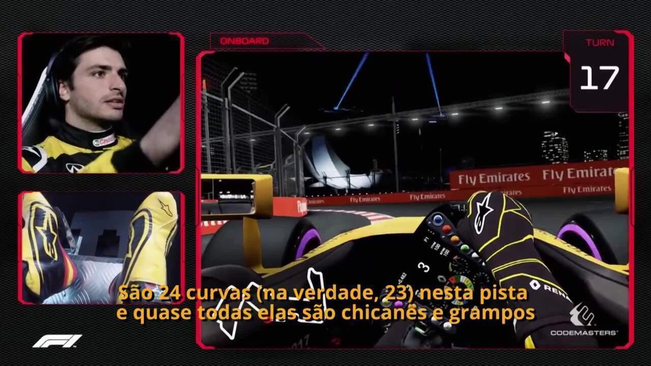 Vá de carona com Carlos Sainz Jr. em uma volta rápida pelo palco do GP de Singapura