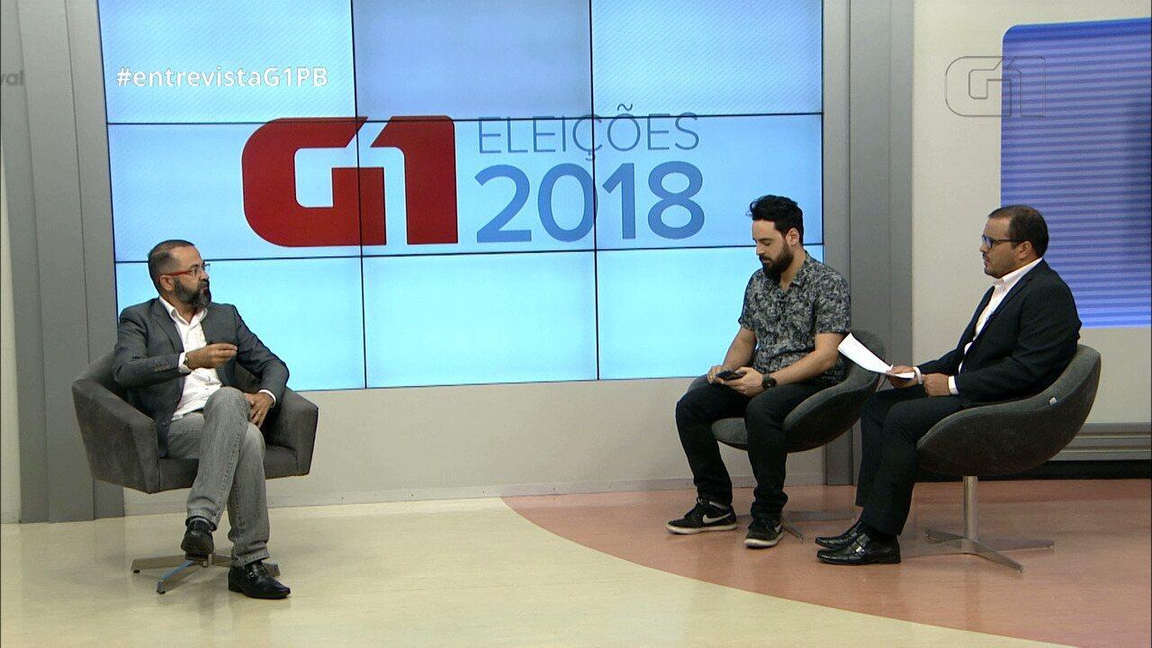 Candidato ao governo da Paraíba Tárcio Teixeira (PSOL) é entrevistado pelo G1