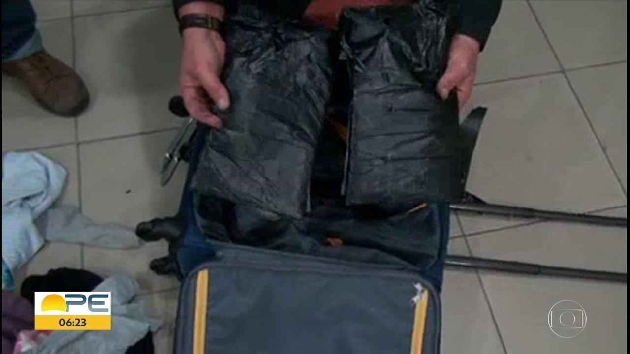 Duas pessoas são presas com oito quilos de cocaína no Aeroporto do Recife