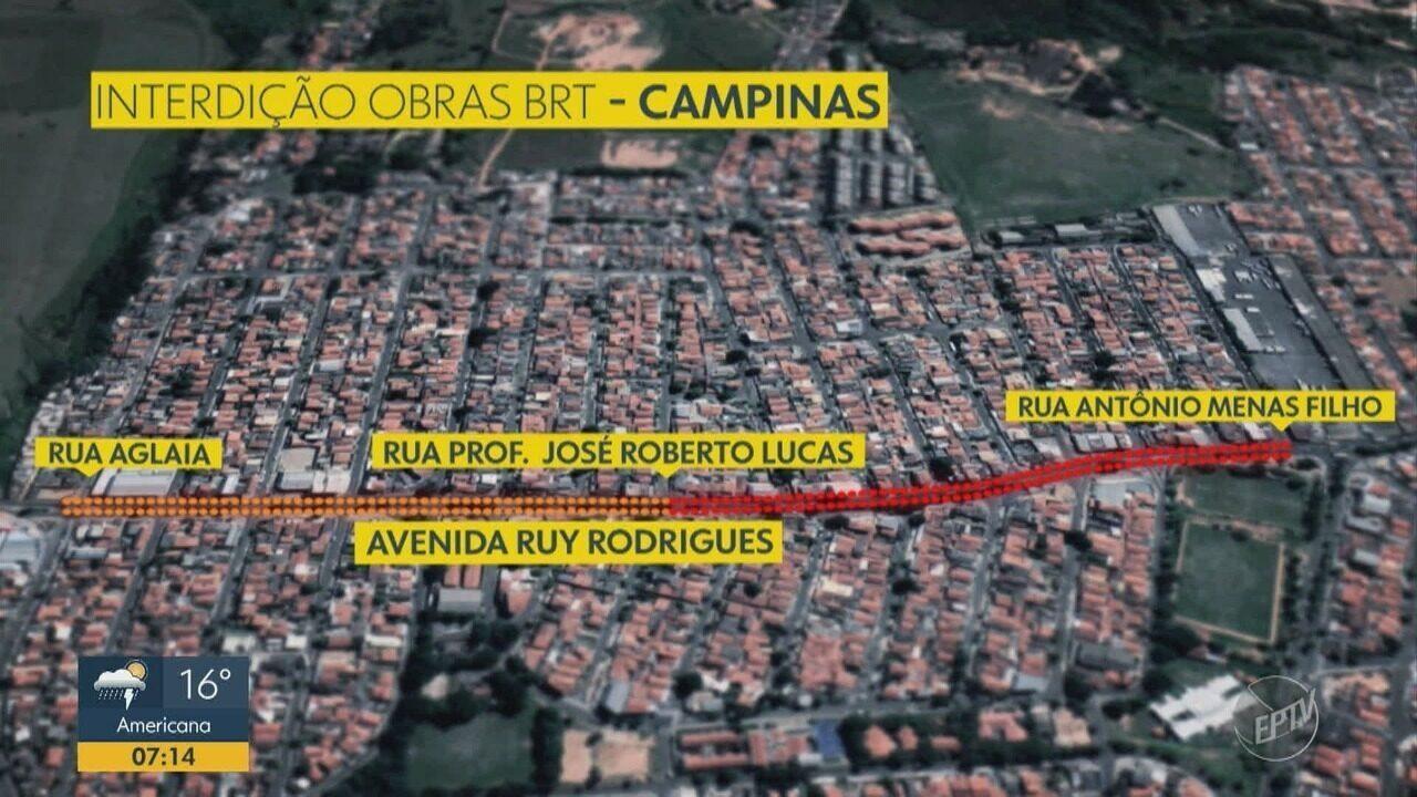 Obras da BRT causam bloqueio parcial na Avenida Ruy Rodrigues, em Campinas