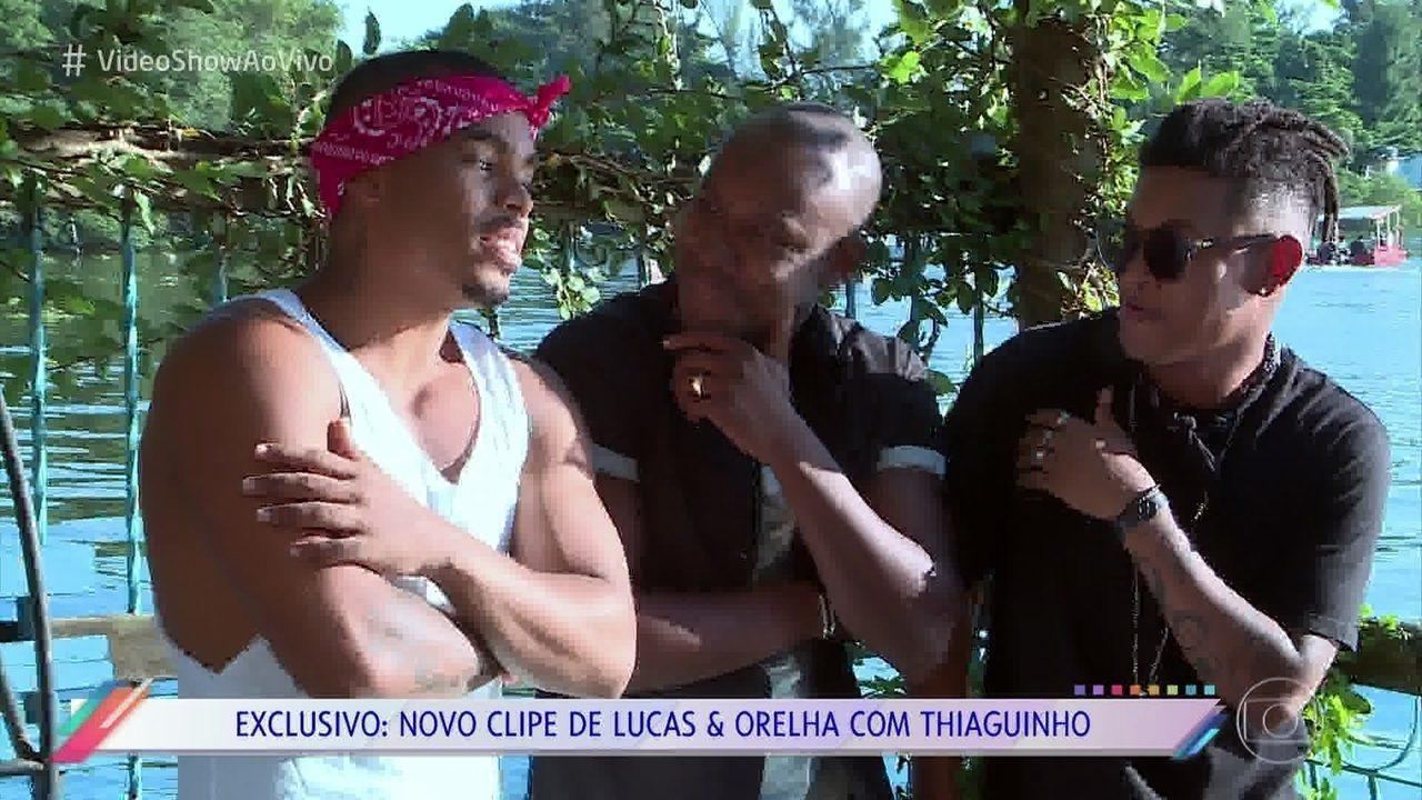 Lucas e Orelha lançam clipe com Thiaguinho no  Vídeo Show    Vídeo ... dc05808dfd
