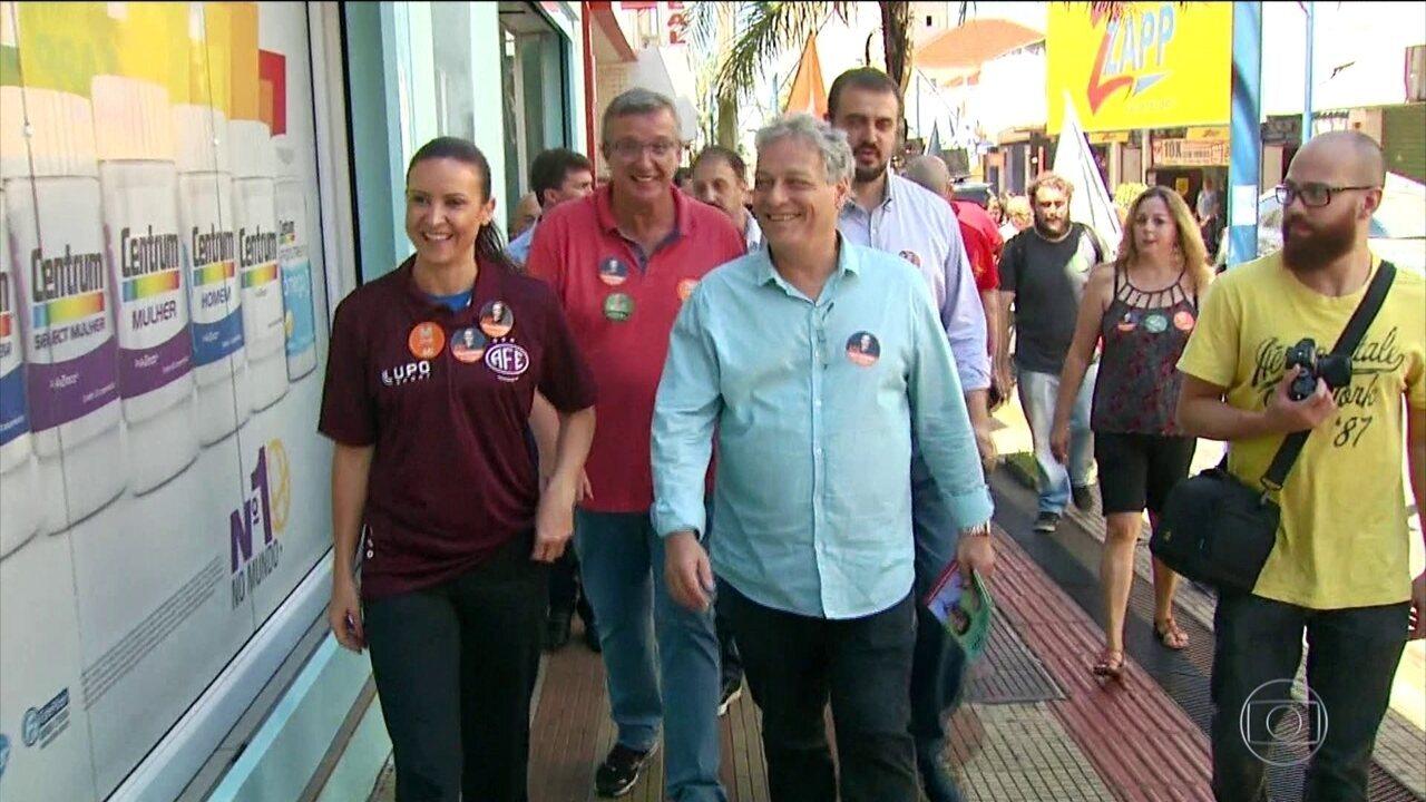 Candidato do PPL, João Goulart Filho, faz campanha no interior paulista