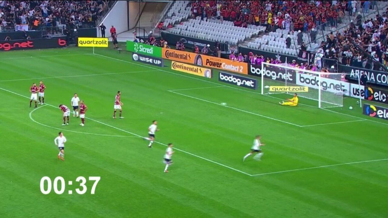 Cronômetro mostra Pedrinho fazer gol com 37 segundos em campo