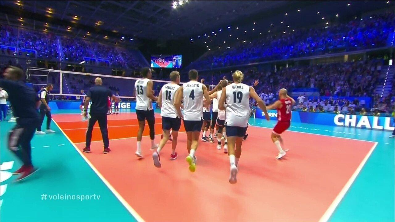 Melhores momentos de Estados Unidos 3 x 0 Rússia pela 3ª fase do Mundial de Vôlei