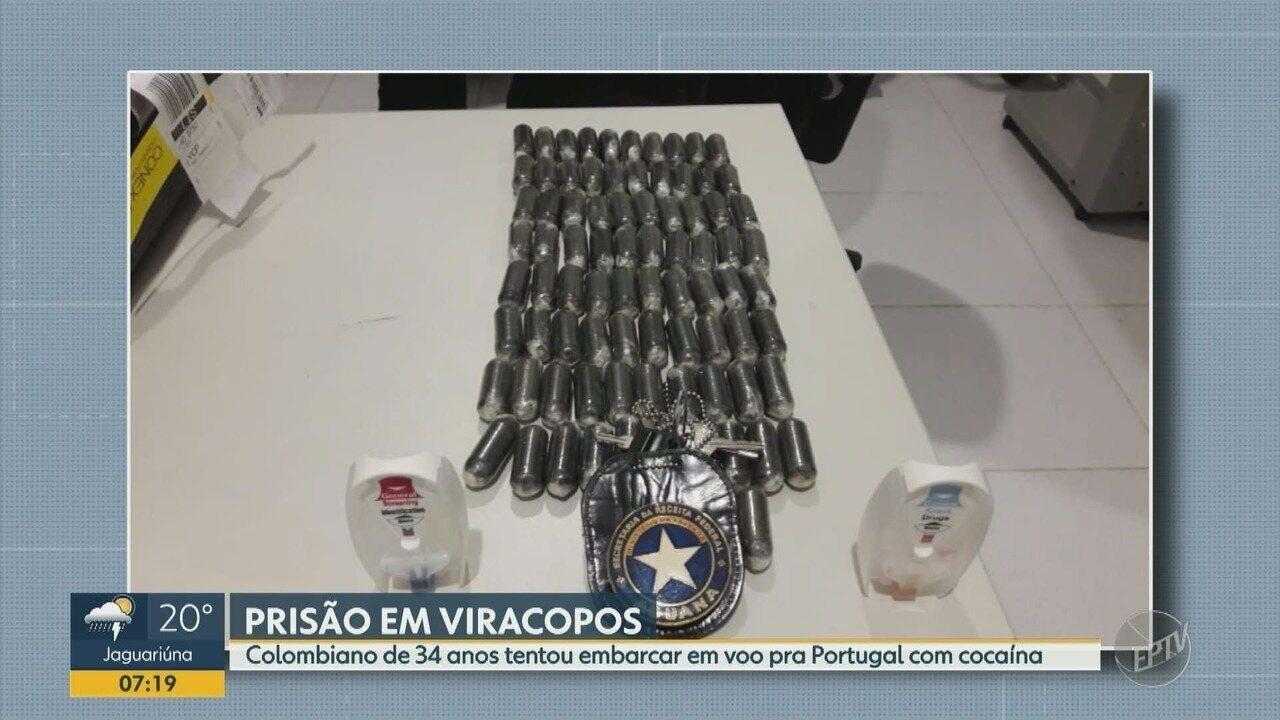 Colombiano tenta embarcar com cocaína no Aeroporto de Viracopos e é preso