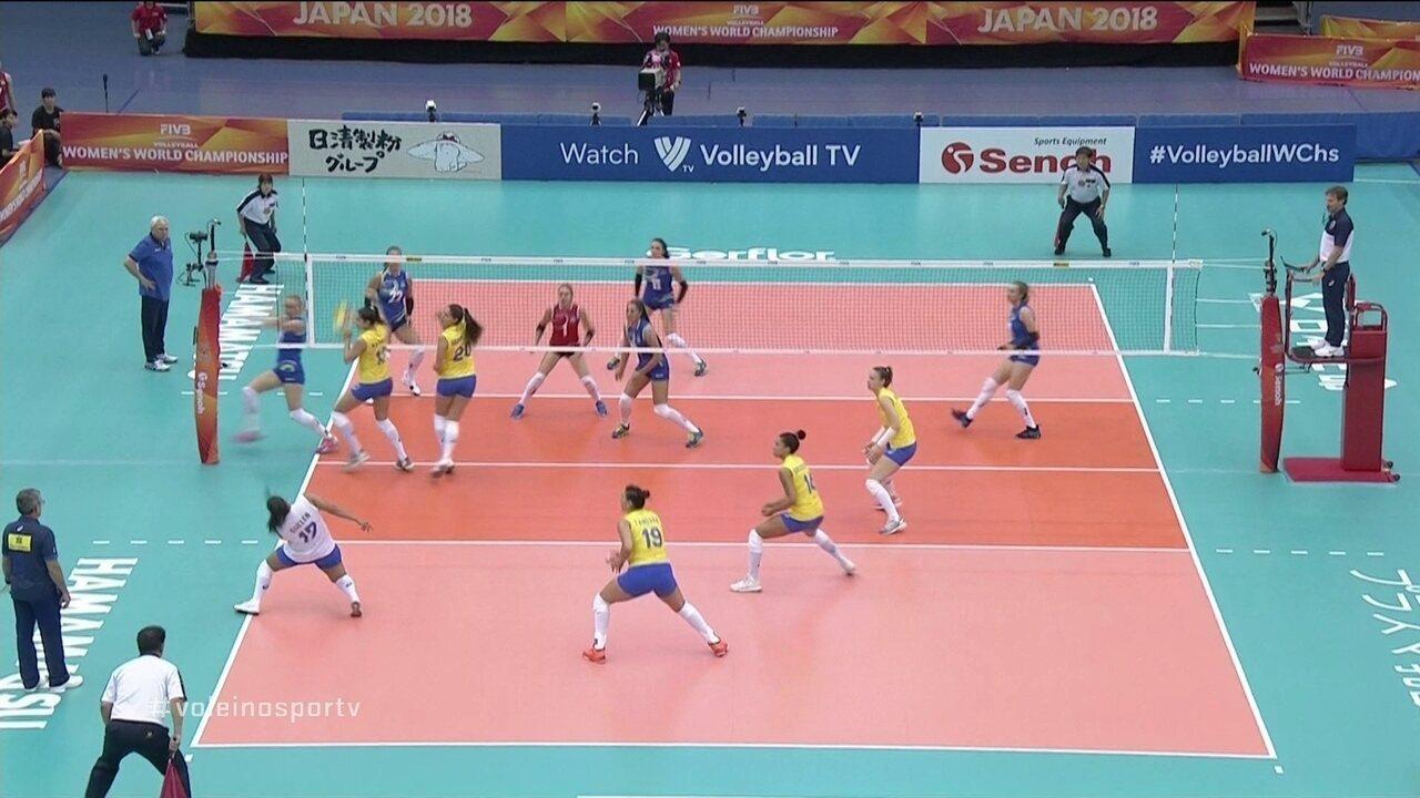 a610348cf5 Melhores momentos de Brasil 3 x 0 Cazaquistão pelo Mundial de Vôlei Feminino