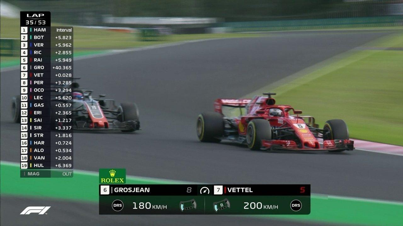 Vettel passa Grosjean e assume a sexta colocação