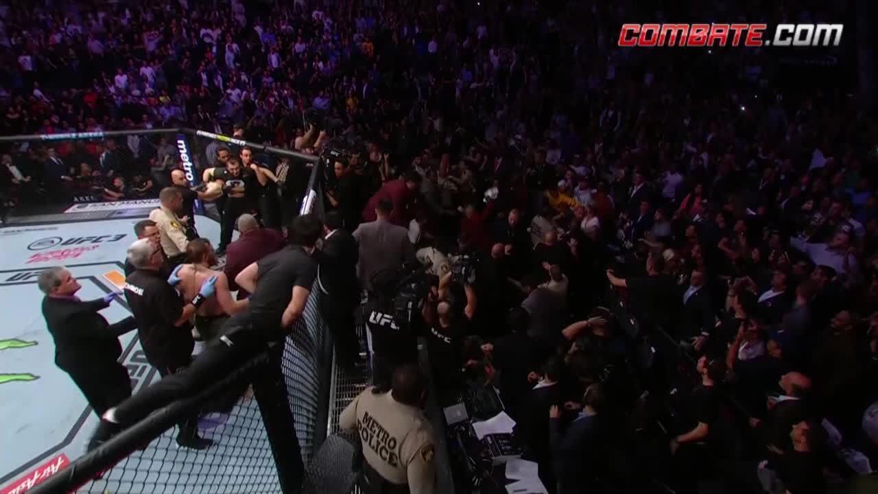 Veja a confusão após a vitória de Khabib Nurmagomedov e Conor McGregor