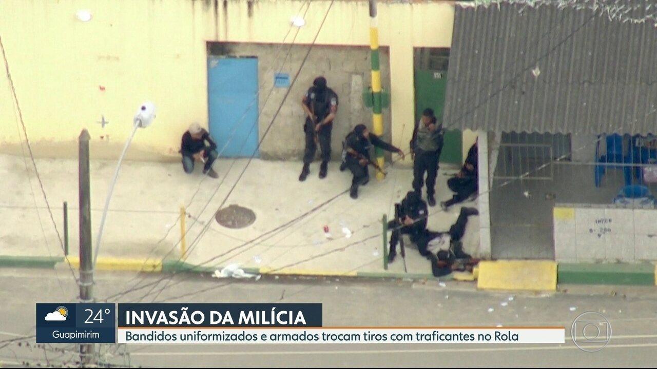 Milicianos fortemente armados trocam tiros com traficantes em Santa Cruz