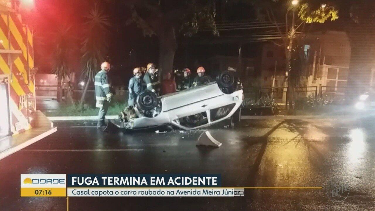 Casal é detido após capotar carro roubado na Avenida Meira Júnior em Ribeirão Preto