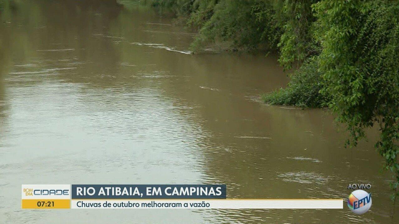Chuva de outubro melhora vazão do Rio Atibaia, em Campinas (SP).