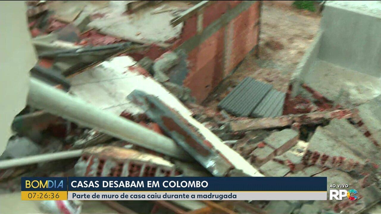 Três casas desabam durante a madrugada em Colombo