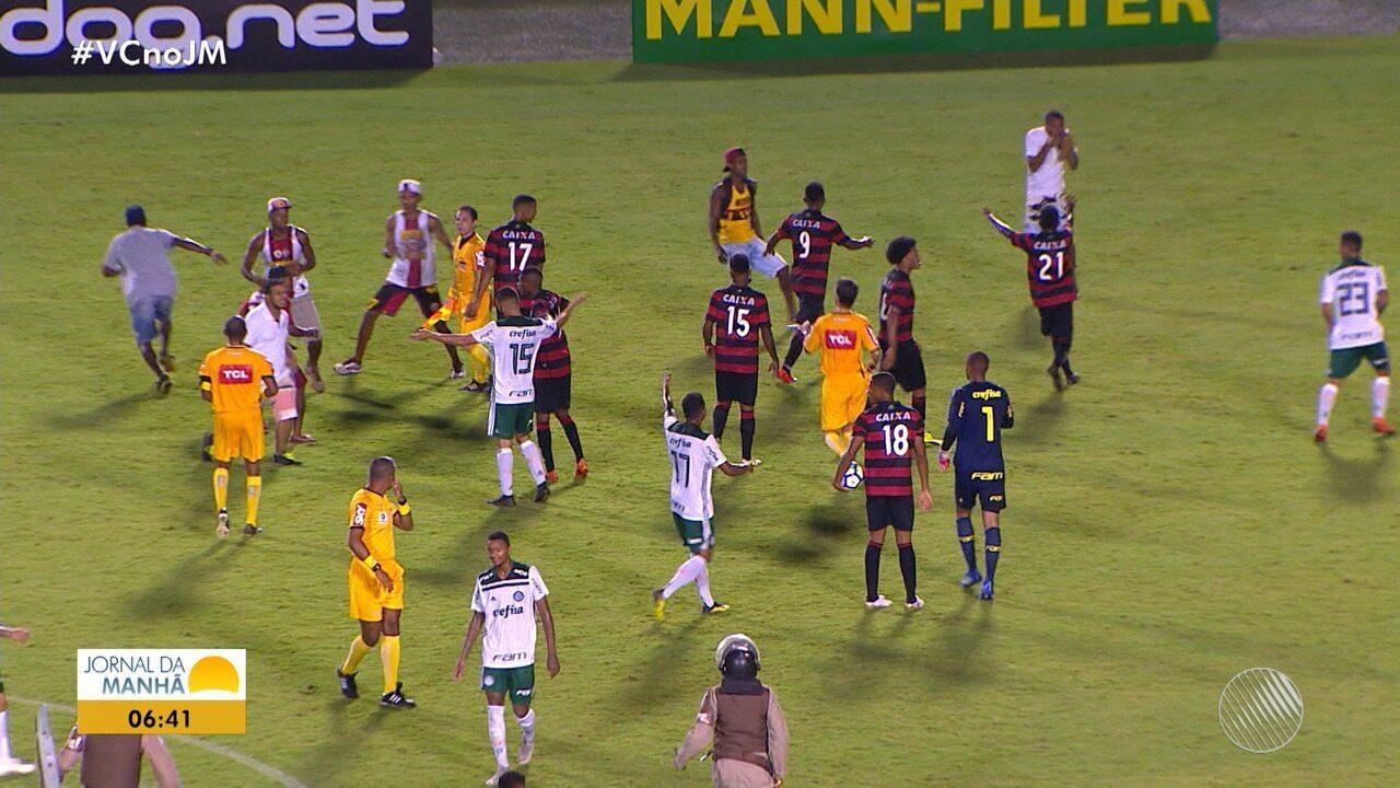 Palmeiras vence o Vitória por 4 x 1 e jogo acaba em confusão no Brasileirão sub-20