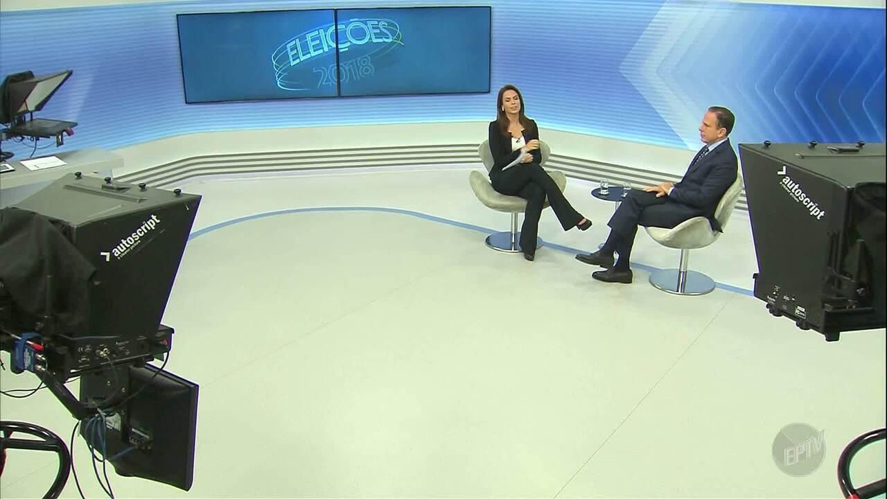 Confira a entrevista do candidato ao governo de SP, João Doria, ao EPTV2